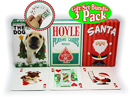 Bicycle Mini Playing Cards Christmas Theme Hoyle Holiday Standard, Santa, & The Dog Complete Gift Set Party Bundle (Stocking Stuffers) - 3 ()