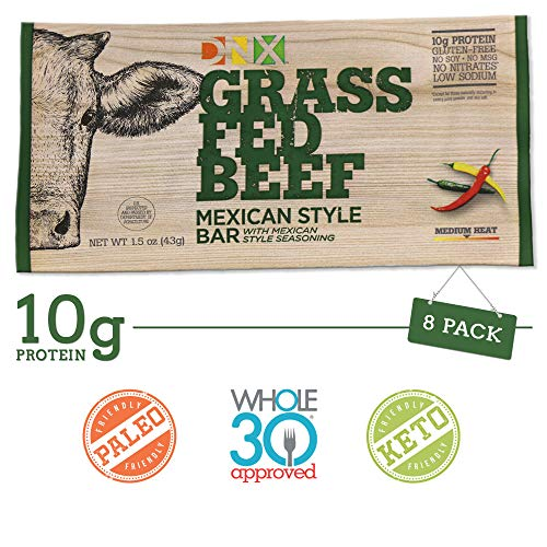 DNX Bar-Grass Fed Beef Paleo Protein Bar-Mexican Style- Organic Fruits and Veggies, Gluten Free, Non-GMO, No Dairy, Whole30 Approved, Paleo Inspired Meat Bar with a Truly Epic Taste (8 Bars)