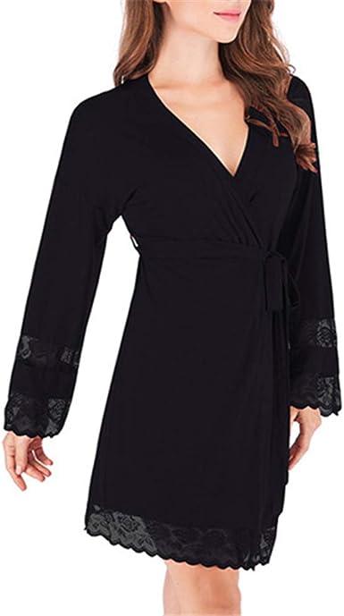 Mujeres Kimono Batas Algodón Ligero Bata Corta Tejido Albornoz Ropa de Dormir Suave con Cuello en V para baño SPA, Albornoz Modal de camisón de Encaje para Mujer: Amazon.es: Ropa y accesorios