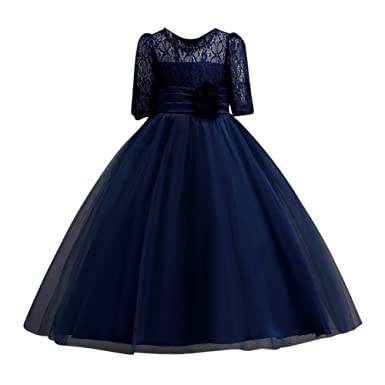 Hougood Girls Dresses Summer Princess Dress Birthday Weddings Party Fancy Dress Ceremony Formal Dresses Lace Stitching