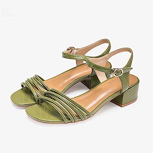 Simples Talones Blanco color De Zapatos La Manera Green Verano Con 35 Gruesos Del Primavera Tamaño Mujeres Ocasionales Sandalias Las Y Jianxin Mujeres Los PqHnwW5Un