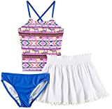 Freestyle Big Girls' Three Africa Two Piece Tankini with Skirt Swimsuit Set, Multi, 8