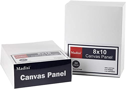 Madisi Painting Canvas Panels 48 Pack 8X10 Classroom Value Pack Paint Canvas