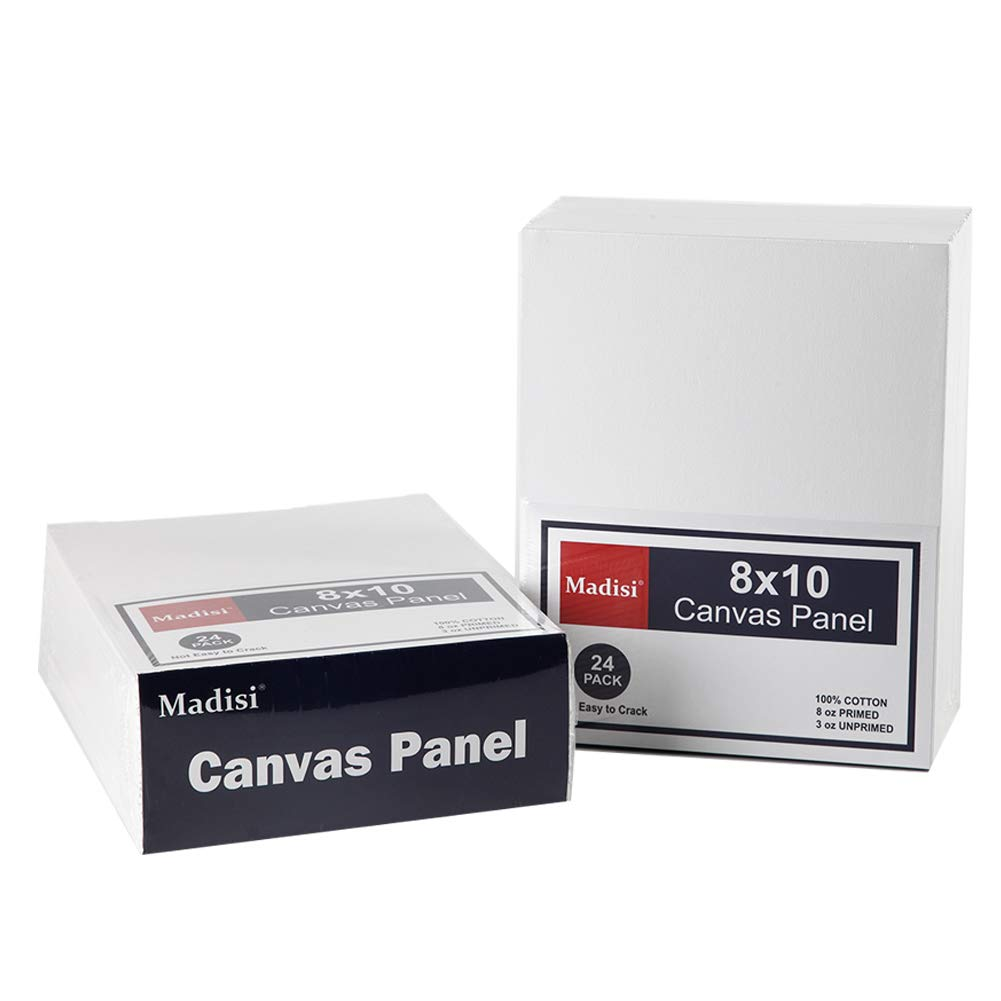 Madisi Painting Canvas Panels 48 Pack, 8X10, Classroom Value Pack Art Canvas by Madisi