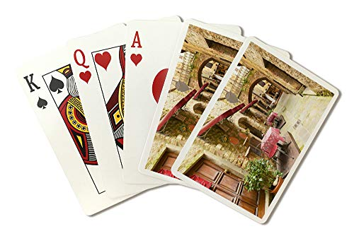 Tuscany, Italy - Alley Restaurant Seating - Photography A-92481 (Playing Card Deck - 52 Card Poker Size with Jokers)