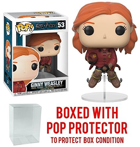 Funko Pop Movies: Harry Potter - Ginny Weasley on Broom Vinyl Figure (Bundled with Pop Box Protector Case)