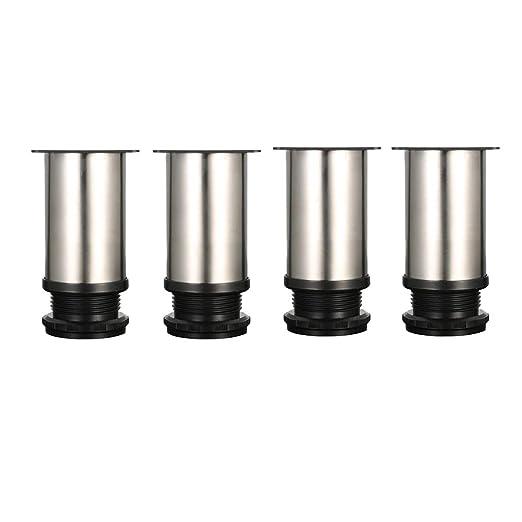 Drenky 4 Piezas unidades Patas de Metal muebles regulables armario de cocina pies redondo - Metal cromado - Altura ajustable (Total: 80-95mm)