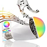 LAKASARA LED Light Bulb with Bluetooth Speaker Smart Color Music Bulb - Dimmable E27 Wireless Control Built-in Autio Speaker