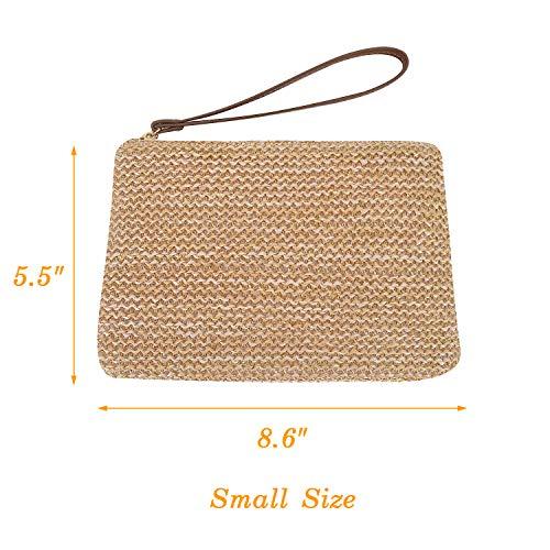 AGNETA Women's Hand Wrist Type Straw Clutch Summer Beach Sea Handbag (Brown Large) by AGNETA (Image #1)