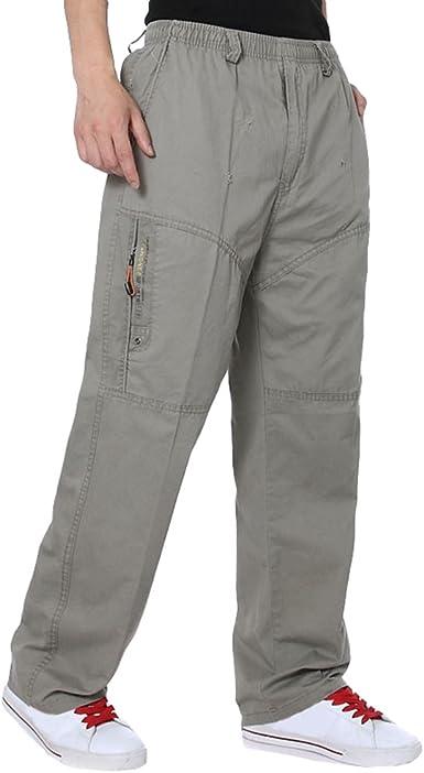 Lvguang Hombre Cargo Pantalones Ligero Pantalon De Color Solido Pantalones De Trabajo Militar Casual Pantalones Amazon Es Ropa Y Accesorios