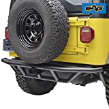E-Autogrilles 51-0003 Black Rear Bumper (87-06 Jeep Wrangler TJ YJ Tubular Off Road with 2