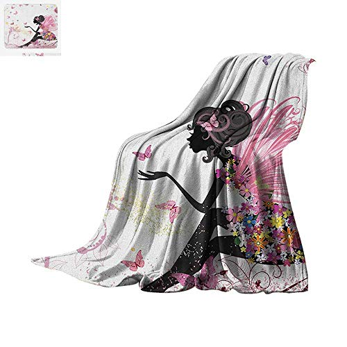 Girls Throw Blanket Fairy Girl with Wings in a Floral Dress Magical Fantasy Garden Flying Butterflies Print Artwork Image 90
