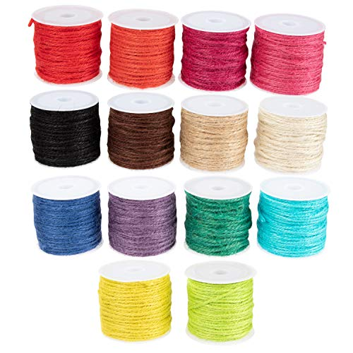 Jute Twine - 14-Pack, 2mm x 32.8 Feet Per Roll, Colorful Jute String, Twine Rope, Decorative Craft String, for Art Craft DIY Projects, Gift Wrapping, Picture Hanging, Decoration, 2 Ply, Multi Color ()