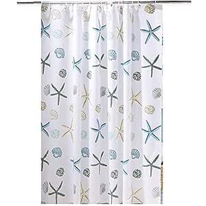 PEVA Mildew Free Water Repellent Shower Curtain Theme Ocean Theme Bath Curtain Shells Print 180 x 200 cm