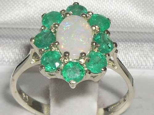 925 Sterling Silver Real Genuine Opal and Emerald Womens Band Ring