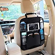 Kids Travel Tray/Toddler Travel Tray   Waterproof Car Seat Trays for Planes Airplane and Strollers Sturdy Portable Lap Activity Snack Desk Reinforced Solid Surface Mesh Pockets Play Tray (Black)
