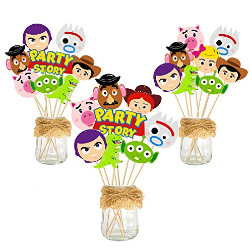 Ticiaga Toy 4 Party Favors, 30pcs Toy 4th Party Centerpiece Sticks Table Toppers for Birthday Party Decoration, Double Sided Party Photo Booth Props Mix of Fork, Woody, Buzz Lightyear Cake topper (Decorations 4 Birthday)