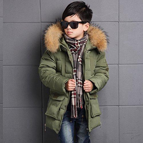 Menschwear Boy's Down Fur Hooded Jacket Winter Warm Outwear Winter Coat (150,Green) by Menschwear (Image #3)