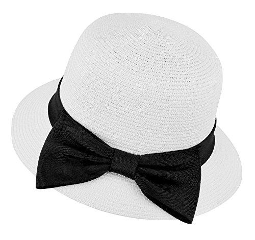 Women's Wide Brim Braided Beach Sun Hat with Decorative Bow,White (Modular Rattan)