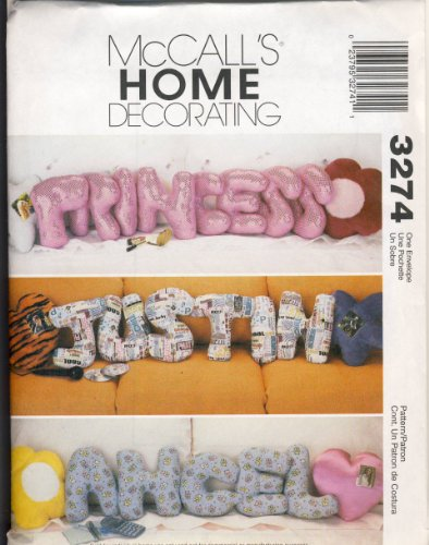 McCall Home Decorating Sewing Pattern 3274 - Use to Make - Pillows - Star, Heart, Flower and 13 Inch Alphabet Letter Pillows