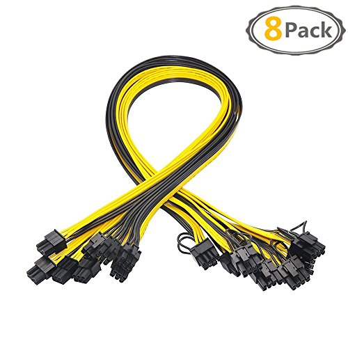 18AWG 6Pin PCI-E to 6+2pin Cable(Male to Male) , 8 Pack PCI 6Pin to 8Pin GPU Power Cable or HP Serve breakout board, Graphics Video Card,Ethereum ETH Mining GPU/PSU Power Supply-27.5Inch (8 Pack)