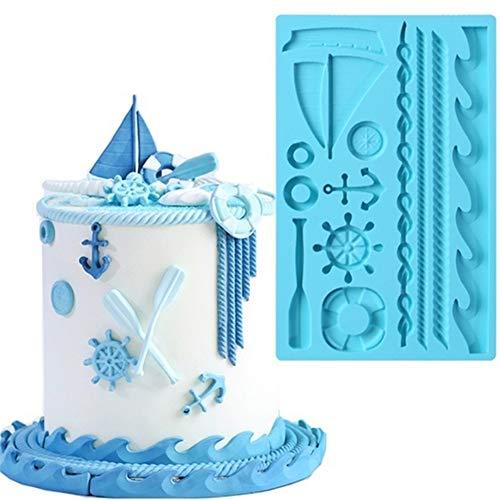 AXspeed Siliconen Cake Mold Zeil Roer Anker Zeilboot Vorm Fondant Mould Gebak Bakvorm voor het verfraaien van…