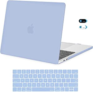 MOSISO MacBook Pro 13 inch Case 2019 2018 2017 2016 Release A2159 A1989 A1706 A1708, Plastic Hard Shell Case & Keyboard Cover Skin & Webcam Cover Compatible with MacBook Pro 13 inch, Serenity Blue
