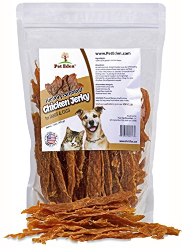 Pet Eden Chicken Jerky Dog Treats Made in USA Only, 1 lb. of Hickory Smoked, Grain Free, All Natural USDA Grade A Chicken Breast Strips ()