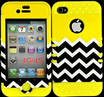 Hybrid Cover Case for Iphone 4 4s Yellow Block Chevron Hard Plastic Snap on Yellow Silicone Gel by Cell Armor