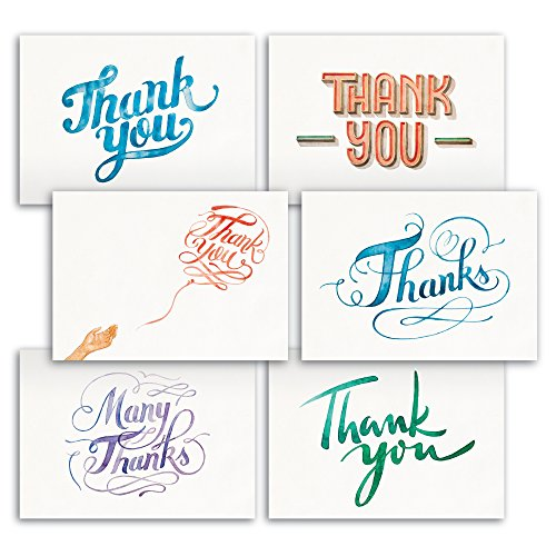 - Hand Painted Watercolor Thank You Note Cards 48 Bulk - Like Handmade Cards Box Set - Contains Blank Cards with Envelopes - 6 Special Designs by Papertopia