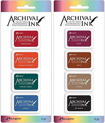 Ranger Mini Archival Ink Pad Kits #1 & #2 - 2 item Bundle (Ranger Ink Pad)
