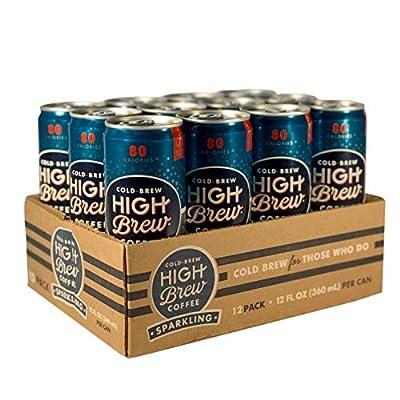 High Brew Sparkling Cold Brew Coffee, Vintage Vanilla (12 Count), Grab & Go Pre-Made Cold Brew Direct Trade Coffee Low-Acidity Caffeine Drink