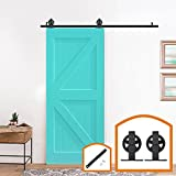 HomeDeco Hardware 5 FT-16 FT Mount Large Wheel Style Sliding Barn Door Hardware Farmhouse Set (6.6 FT Single Door Soft Close Kit)