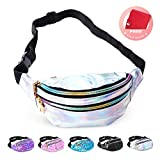 swelldom Fanny Pack Belt Bag, Holographic Fanny Packs for Women Men Kids, Fashion Waterproof Waist Pack with 3 Pouches Adjustable Strap, Shiny Casual Bags Cute Bum Bag (Shiny Silver - 01)