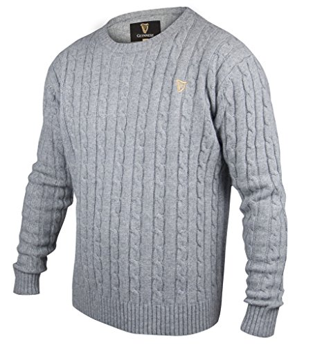 Guinness Grey Cable Knit Cotton/Cashmere Sweater (X-Large)