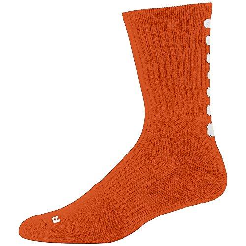 Augusta Sportswear MEN'S COLOR BLOCK CREW SOCK 10-13 Orange/White Canvas Block Stripe