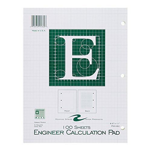 Case of 48 Engineer Pads, 8.5''x11'', 100 sheets of 16# Green tint Paper, 5x5 printed Grid, 3-Hole Punched, top glued, Extra Heavy Backing by Roaring Spring (Image #1)