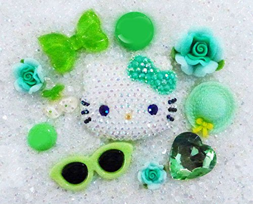 LOVEKITTY DIY Z417 3D Blinged out Hello Kitty Inspired AB Jelly Rhinestones Cell Phone Case Resin Flatback Kawaii Cabochons Deco Kit / Set