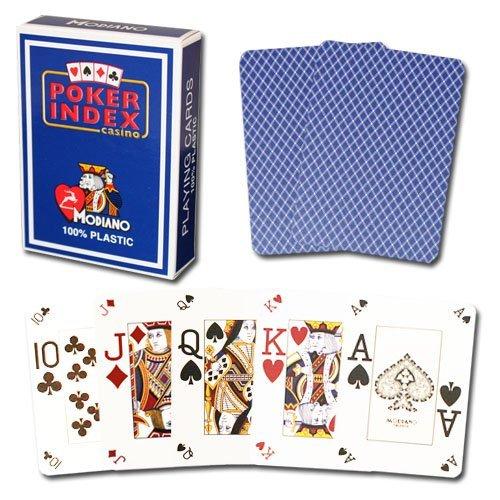 Modiano Poker Index 100% Plastic - Blue