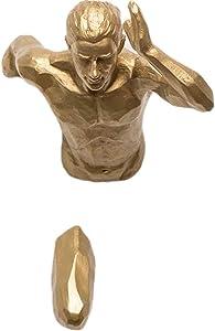 MOCOHANA Running Man Wall Sculpture 3D Wall Art Sport Figurine for Home Office Decor(Golden Left Hand)