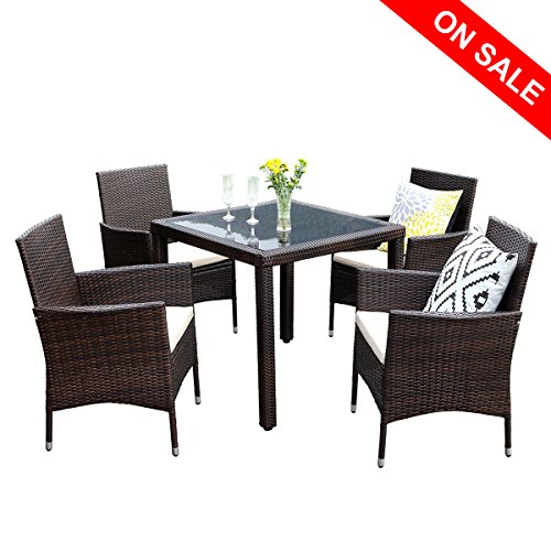 Wisteria Lane Outdoor Patio Dining Table Set, 5 Piece Glassed Dining Table Chairs Sectional Furniture Conversation Set Cushioned Garden Lawn Bar Furniture,Brown ()