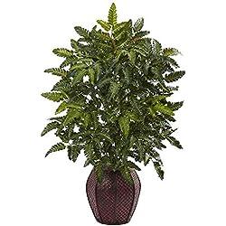 "Nearly Natural 6887 33"" Bracken Fern with Decorative Planter"