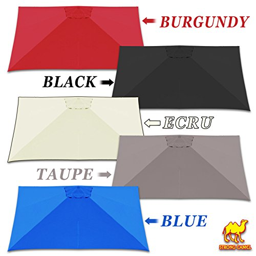 Strong Camel Replacement Canopy Cover for 10' x 10' ROMA Cantilever Patio Umbrella Offset Parasol Top (Burgundy) (Covers Replacement Parasol)