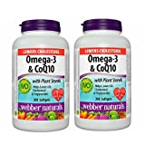 2 bottles x Webber Naturals Omega-3 & Coq10 with Plant Sterols, 200 Softgels (2)