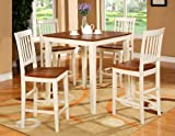 Cheap 5PC Square Pub Counter Height Table Set 4 Stools White