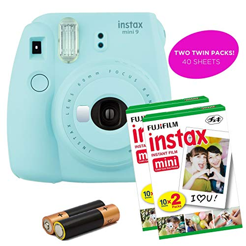 Fujifilm- Instax Mini 9 Instant Camera Product Bundles | Film Pack Options | Renewed (Mini 9 + 2 Film Packs, Ice Blue)