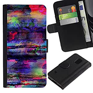 All Phone Most Case / Oferta Especial Cáscara Funda de cuero Monedero Cubierta de proteccion Caso / Wallet Case for Samsung Galaxy S5 V SM-G900 // Art Colors Psychedelic Mushrooms