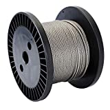 """Zoostliss 100Ft Stainless Steel Aircraft Wire Rope 1/8"""" for Deck Cable Railing Kit, 7x7 T316 Marin Grade"""