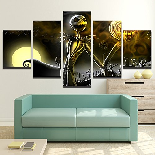 Christmas Paintings - Canvas Prints Wall Art Pictures 5 Pieces Hallowmas Jack Skellington Painting Living Room Decor Nightmare Before Christmas (With Wood Frame, 30x50cmx2,30x70cmx2,30x80cmx1)