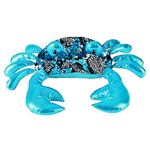 Sequin Crab Plush Stuffed Animal by Sequinimals~Reversible Sequins Turquoise & Silver